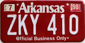 1998 Arkansas State Official # ZKY-410
