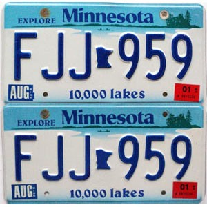 2001 Minnesota Lakes graphic pair # FJJ-959