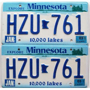 2003 Minnesota Lakes graphic pair # HZU-761