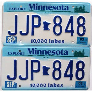 2003 Minnesota Lakes graphic pair # JJP-848