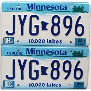 2003 Minnesota Lakes graphic pair # JYG-896