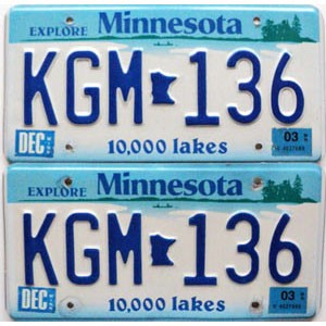 2003 Minnesota Lakes graphic pair # KGM-136