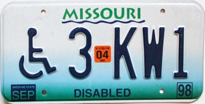 2004 Missouri Disabled graphic # 3-KW1