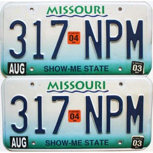 2004 Missouri graphic pair # 317-NPM
