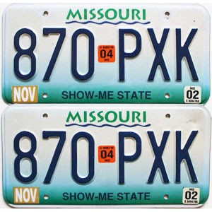 2004 Missouri graphic pair # 870-PXK