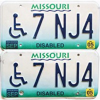 2005 Missouri Disabled graphic pair # 7 NJ4