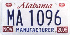 2006 Alabama Manufacturer # MA 1096