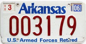 2006 Arkansas Armed Forces Retired # 3179