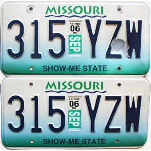 2006 Missouri graphic (STEEL) pair # 315-YZW