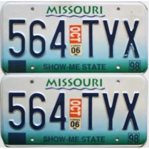 2006 Missouri graphic pair # 564-TYX