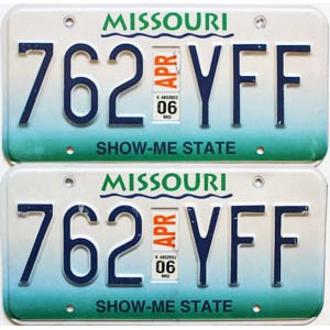 2006 Missouri graphic pair # 762-YFF