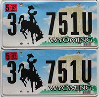 2007 Wyoming Devils Tower pair # 751U, Sheridan County