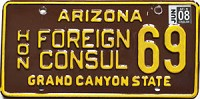 2008 ARIZONA Honorary Foreign Consul license plate # 69