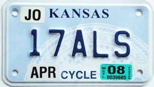 2008 Kansas Motorcycle graphic # 17ALS, Johnson County