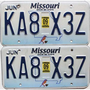 2009 Missouri graphic pair # KA8-X3Z