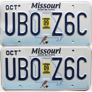 2009 Missouri graphic pair # UB0-Z6C
