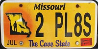 2017 MISSOURI Cave State license plate # 2 PL8S