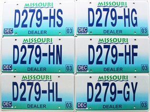 Saturday Special lot # 590, group of 6 bulk 2003 Missouri Dealer old license plates