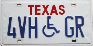 Texas Disabled # 4VH-GR